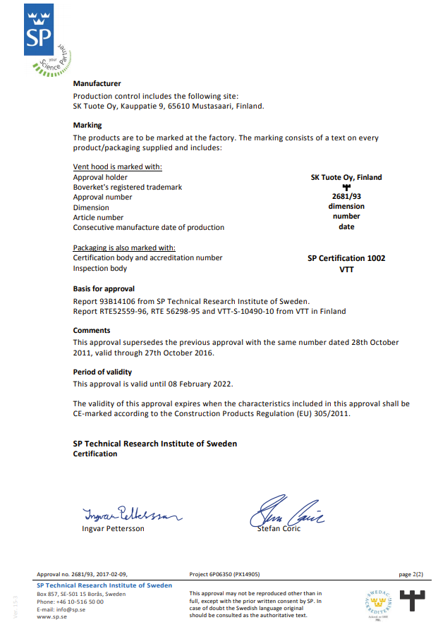 SP Technical Research Institute of Sweden technical approval 2681
