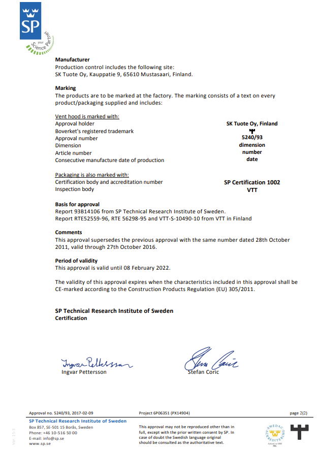 SP Technical Research Institute of Sweden technical approval 5240