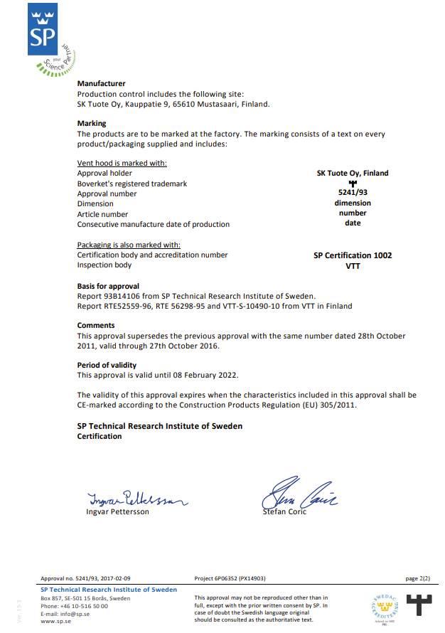 SP Technical Research Institute of Sweden technical approval 5241